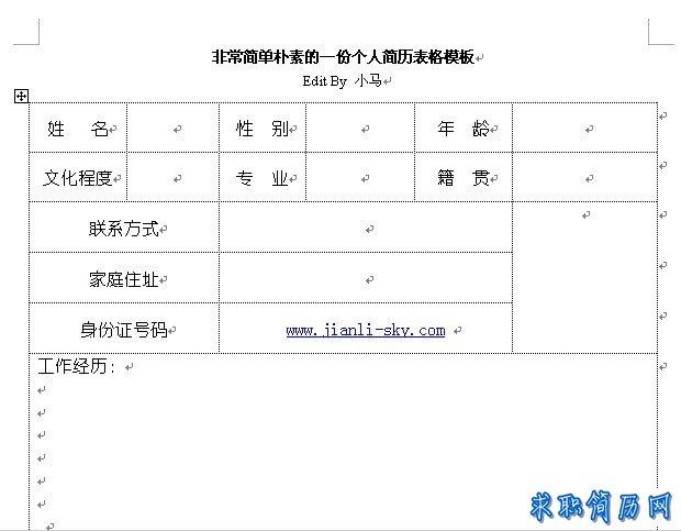 非常简单朴素的一份标准个人简历表格模板图片