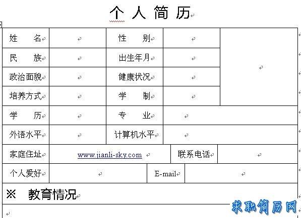 2012下半年个人简历表格模板