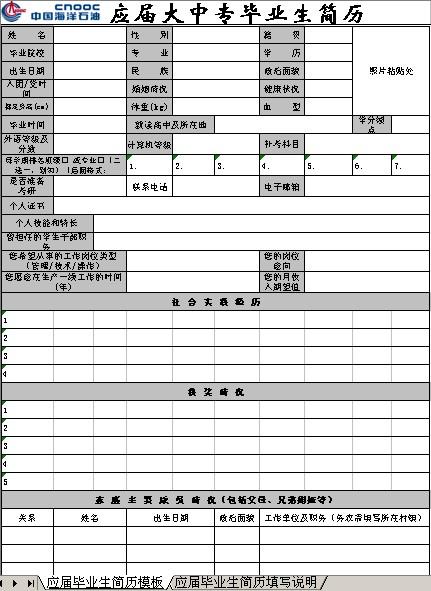 应届毕业生就业网站_2013大中专应届毕业生EXCEL简历模板_个人简历模板网