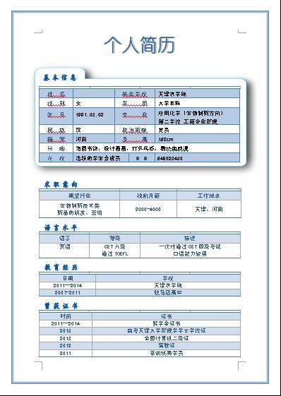 历:大学本科 专业应用化学(生物制药方向) 党员-清雅别致的简历