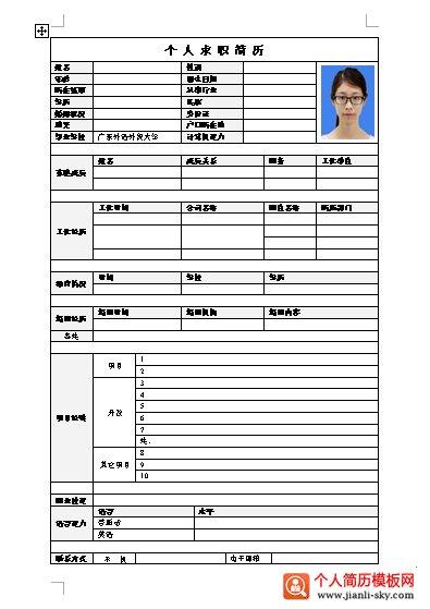 外语外贸求职个人简历模板图片