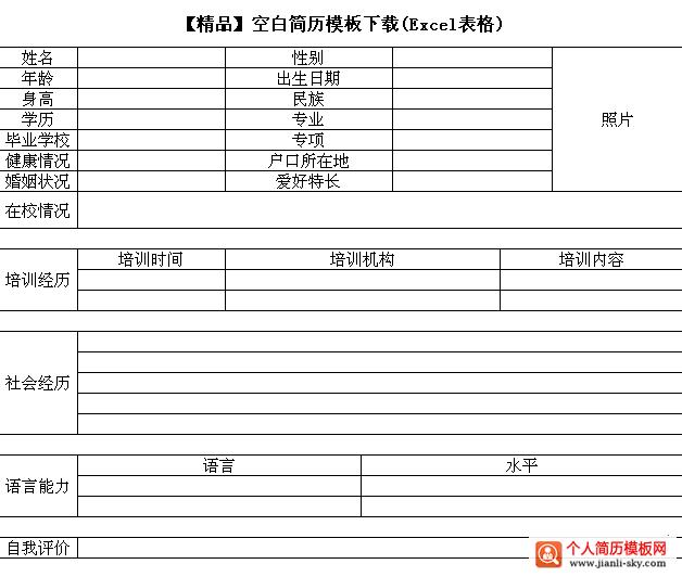 【精品】空白简历模板下载(excel表格)