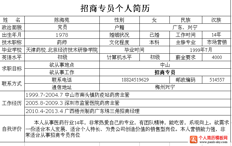 招商专业个人简历2014